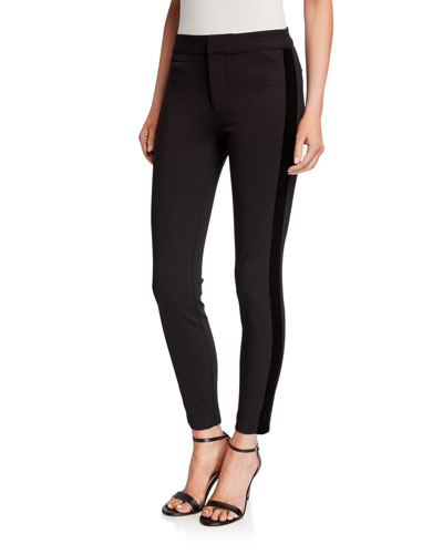 Tereza Skinny Pants w/ Velvet Stripes