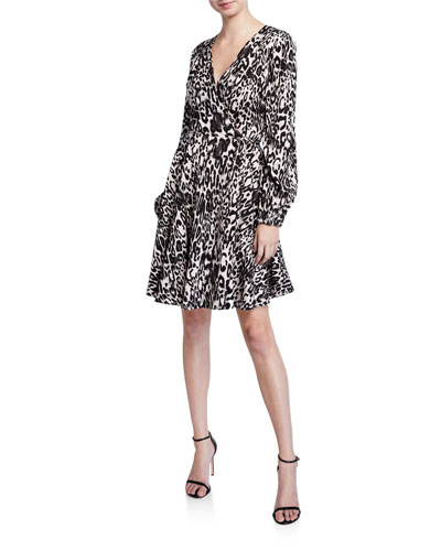 Leopard Printed Jacquard Long-Sleeve Wrap Dress