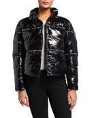 Champion Europe Reverse Weave Shiny Zip-Front Puffer Jacket