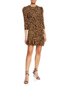 Bardot Ada Leopard Print Crepe Puff-Sleeve Dress