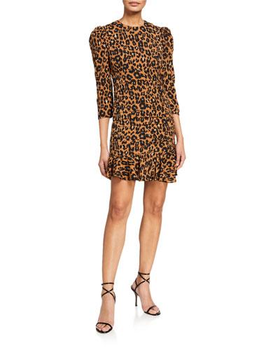 Ada Leopard Print Crepe Puff-Sleeve Dress