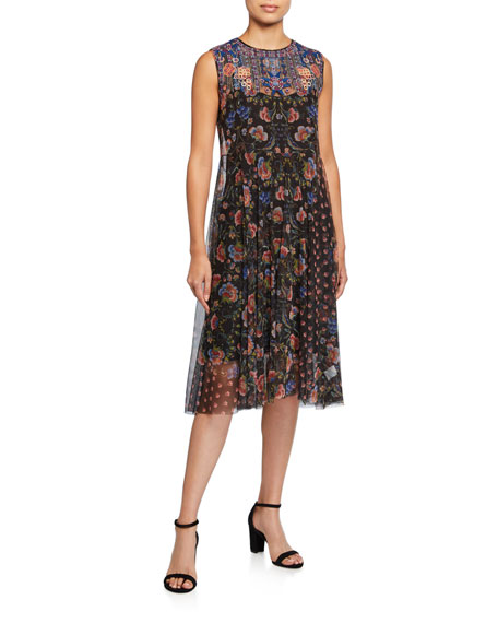 Johnny Was Mier Printed Mesh Sleeveless Dress
