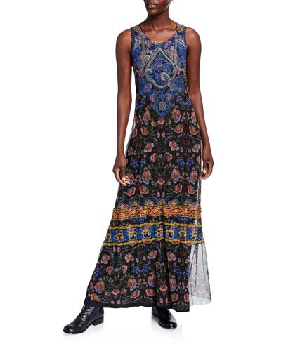 Bihley Printed Mesh Sleeveless Long Dress