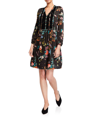 Floral Print Tie-Neck A-Line Dress