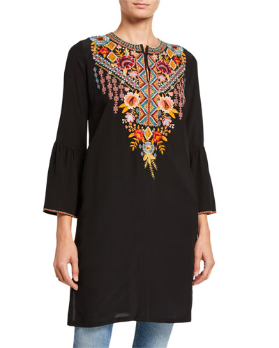 Clansy Flare-Sleeve Silk Tunic with Embroidery