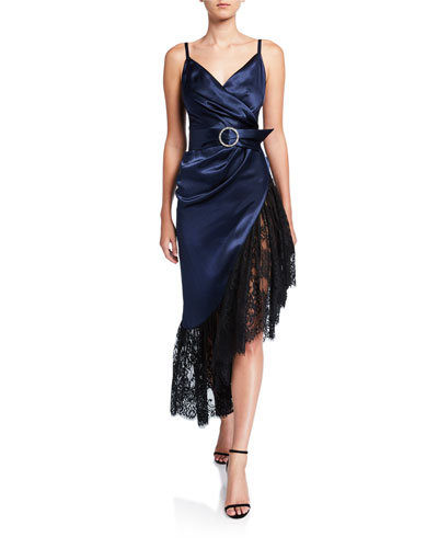 Jana Belted Satin Slip Dress w/ Asymmetric Lace