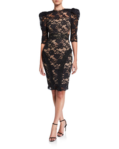 Madeline Noir Puff-Sleeve Lace Dress w/ Illusion Back