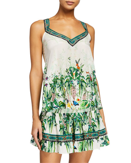 Camilla Floral V-Neck Silk Strap Top