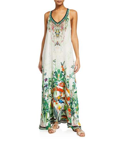 Floral V-Neck Racerback Silk Maxi Dress