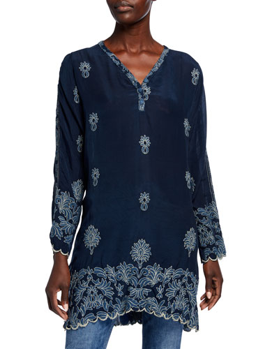 Alex Button-Neck Long-Sleeve Tonal Embroidered Tunic