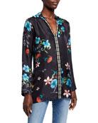 Johnny Was Becca Floral Print V-Neck Long-Sleeve Silk