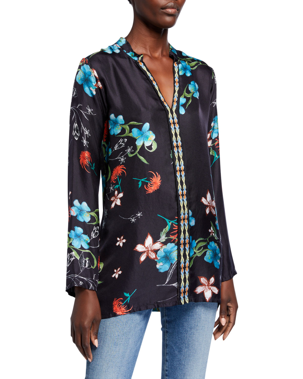 JOHNNY WAS BECCA FLORAL PRINT V-NECK LONG-SLEEVE SILK TOP
