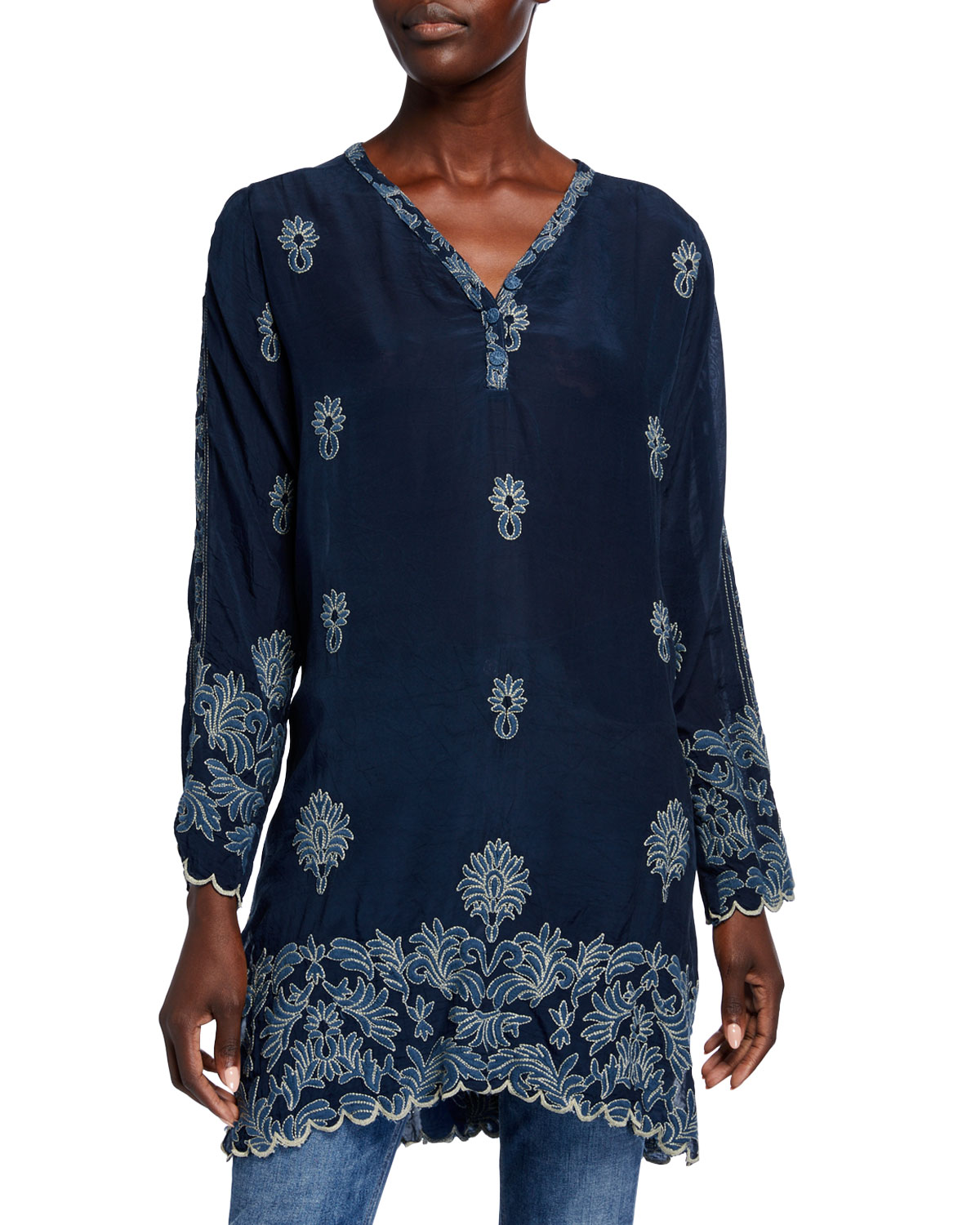 Johnny Was Tops ALEX BUTTON-NECK LONG-SLEEVE TONAL EMBROIDERED TUNIC