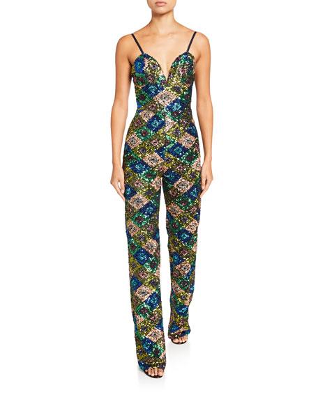 Dress The Population Yoko Geometric Sequin Bustier Jumpsuit