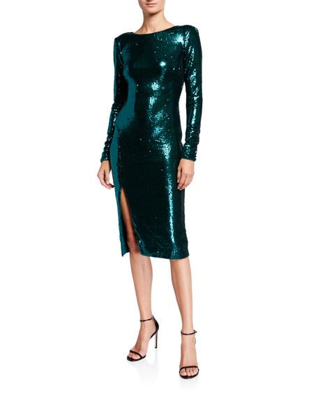 Dress The Population Natalie Long-Sleeve Sequin Dress