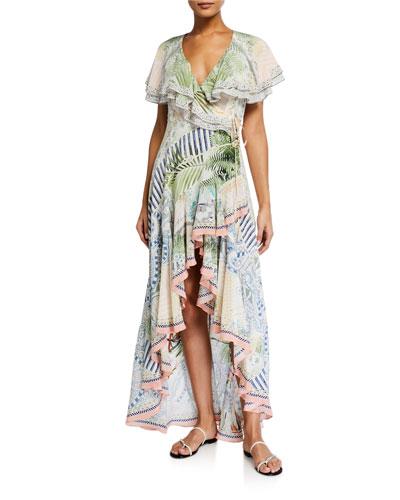 Frill-Sleeve Embellished Silk Wrap Dress