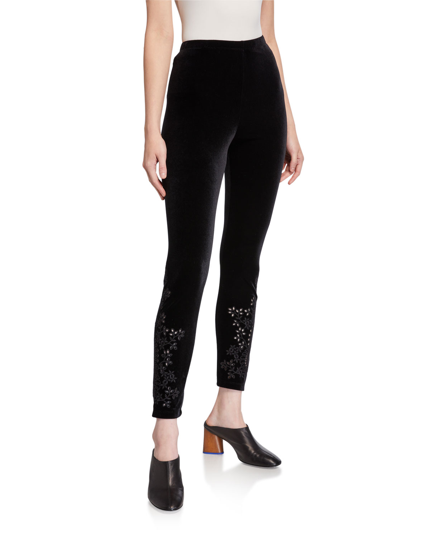 Velvet Leggings w/ Tonal Embroidery
