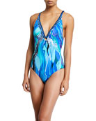 Camilla Printed Ring Detail Plunge-Neck One-Piece Swimsuit