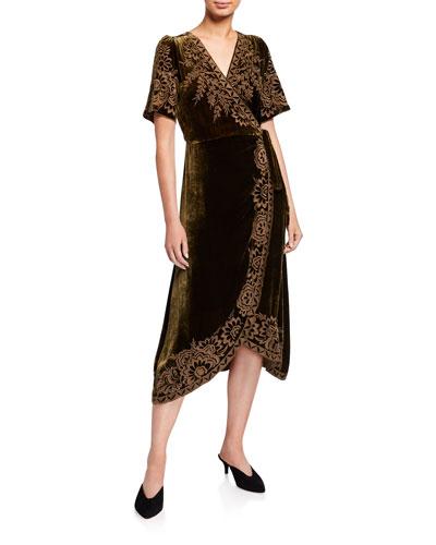 Cheyenne Long Sleeve Front Wrap Side Slit Plunging V Neck Mini Dress