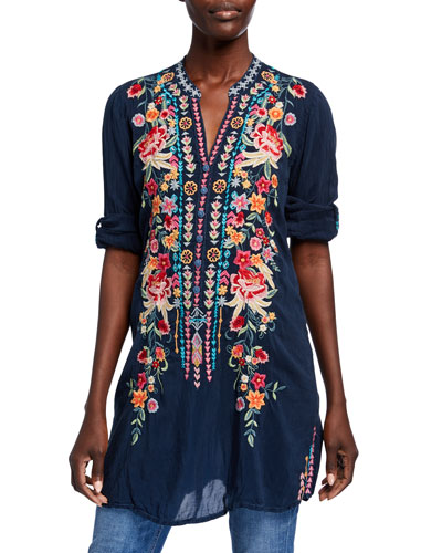 Annette Floral Embroidered V-Neck Tunic w/ Mandarin Collar