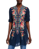 Johnny Was Plus Size Annette Floral Embroidered V-Neck