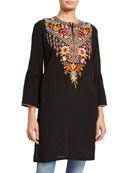 Johnny Was Plus Size Clansy Flare-Sleeve Silk Tunic