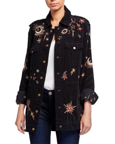 Teleseto Baby Celestial Embroidered Drawstring Military Jacket