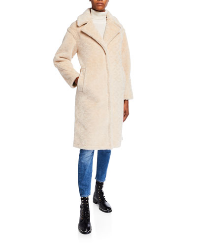 Notch Collar Lamb Shearling Long Coat
