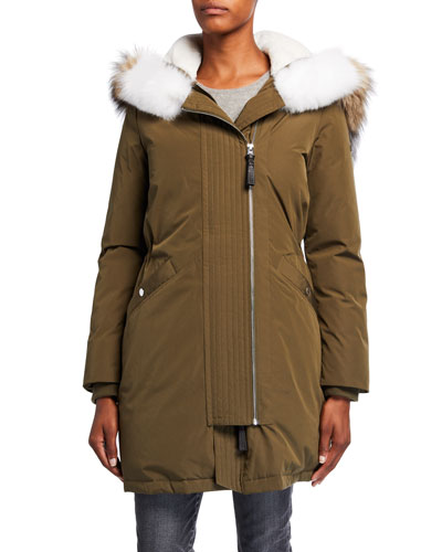 Two-Zip Detachable Fur-Trim Anorak Coat