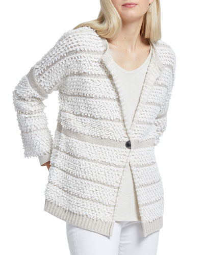 Loop Up Textured One-Button Cardigan