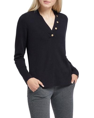 Button Long-Sleeve V-Neck Top