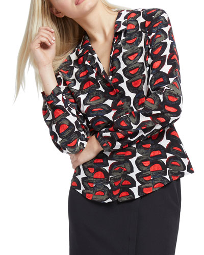 Darling Printed Long-Sleeve Button-Down Top