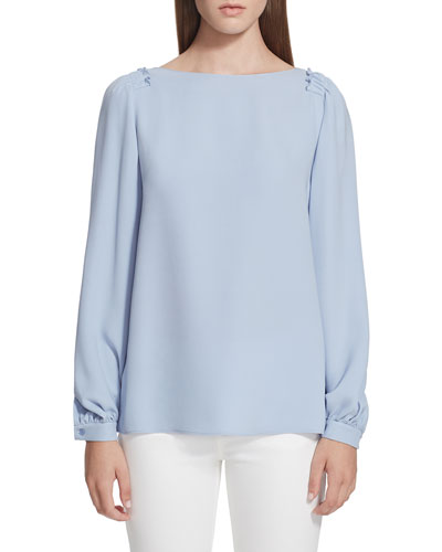Albright Long-Sleeve Silk Double Georgette Blouse