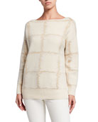 Lafayette 148 New York Bateau-Neck Cashmere Jacquard Sweater
