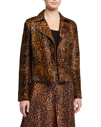 Bernice Cheetah Calf Hair Moto Jacket