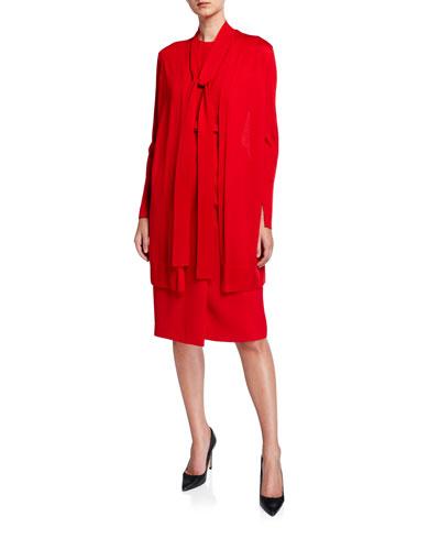 Italian Merino Wool/Silk Tie-Neck Cardigan w/ Combo Back
