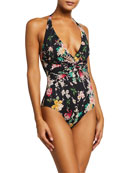 Johnny Was Mono Twisted Halter One-Piece Swimsuit