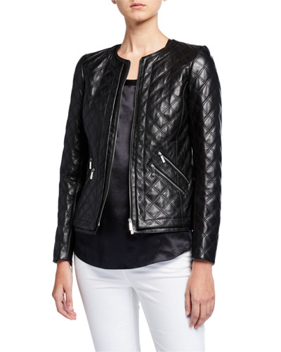 Tanner Plonge Lambskin Leather Quilted Jacket