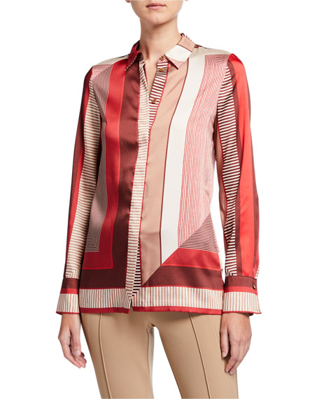 Lafayette 148 New York Eric Prism Button-Down Twill Blouse