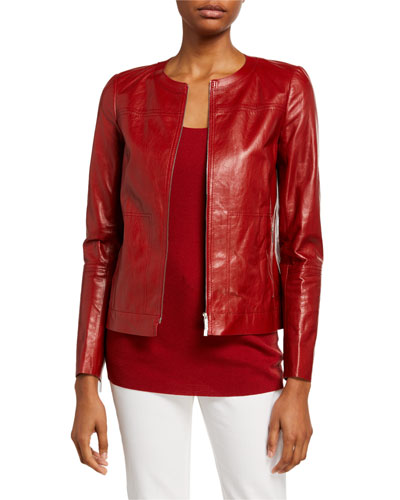 Juno Glazed Weightless Lambskin Leather Jacket