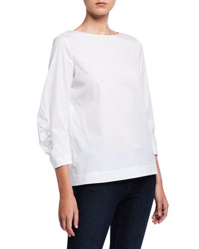 June 3/4-Sleeve Italian Stretch Cotton Blouse