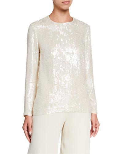 Bonnie Spectrum Sequins Long-Sleeve Blouse