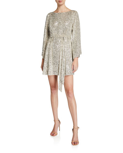 Maggie Sequin Mesh Bateau-Neck Flare-Sleeve Belted Mini Dress