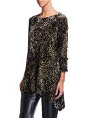 Caroline Rose Crushed Velvet Leopard Side Fall Tunic