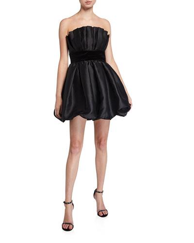 Lola Bubble Skirt Taffeta Bustier Mini Dress with Velvet Waistband