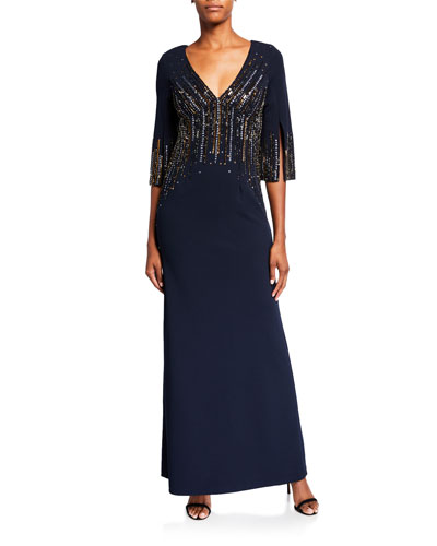 Beaded V-Neck 1/2-Sleeve Crepe Gown