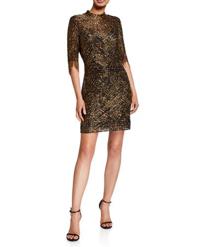 Fully Beaded Fringed Elbow-Sleeve Short Cocktail Dress