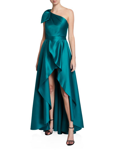 Satin One-Shoulder Bow-Front Romper w/ Removable Overskirt