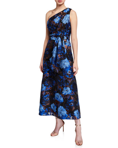 One Shoulder Floral Jacquard Broach Draped Dress