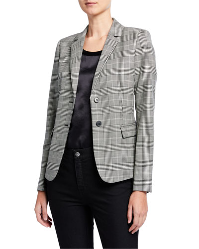Thatcher Houndstooth Plaid Two-Button Blazer
